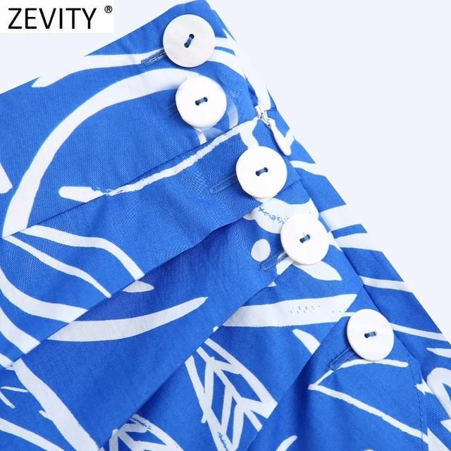 Zevity Women Vintage Pleats Design Floral Print Hem Irregular Skirt Faldas Mujer Female Side Zipper Buttons Mini Vestidos QUN791 5