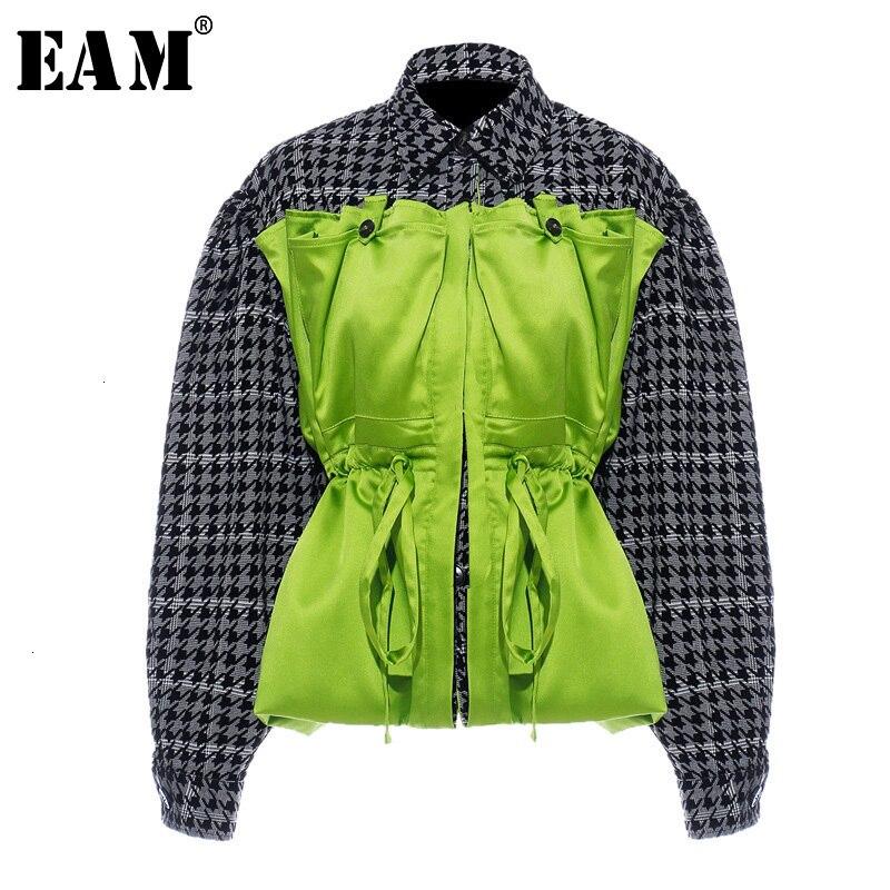 [EAM] Loose Fit Plaid Drawstring Split Big Size Jacket New Lapel Long Sleeve Women Coat Fashion Tide Spring Autumn 2020 1H203 1