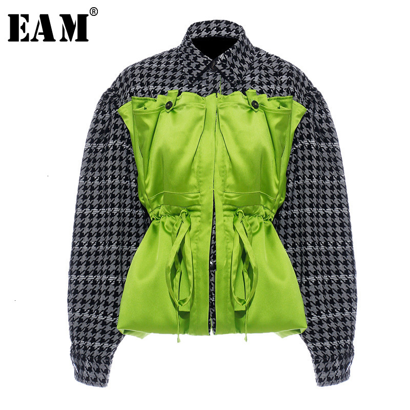 [EAM] Loose Fit Plaid Drawstring Split Big Size Jacket New Lapel Long Sleeve Women Coat Fashion Tide Spring Autumn 2020 1H203