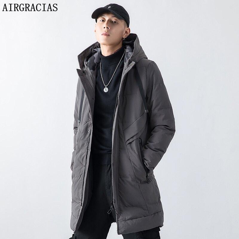 AIRGRACIAS 2019 Top Quality Warm Men's Warm Winter Jacket Men Windproof Casual Outerwear Thick Medium Long Coat Men Parka