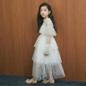 Image 1 - 4 to 16 Years New 2021 Spring Stars Sequins Girls Dress Lace Baby Princess Mother and Daughter Beautiful Clothes,#3995