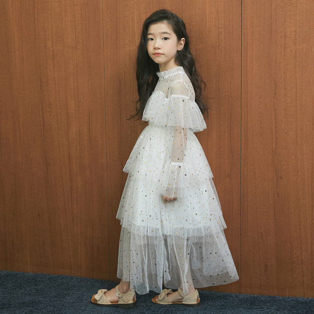 4 to 16 Years New 2021 Spring Stars Sequins Girls Dress Lace Baby Princess Mother and Daughter Beautiful Clothes,#3995
