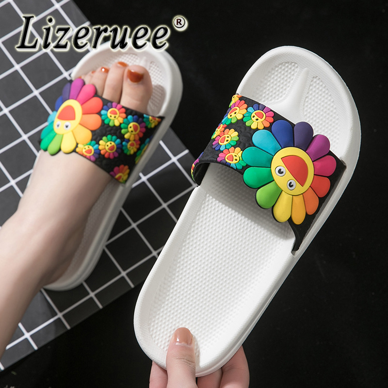 Summer Sunflower Slippers Women SunFloral slippers Beach Casual  Sandals Female Indoor Flip Flops Ladies Soft Slides Shoes