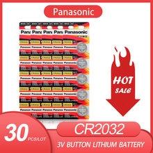 30 Pçs/lote PANASONIC Original CR2032 3V Baterias De Lítio Botão Célula de Bateria CR 2032 para Brinquedos Relógio Calculadora Computador de Controle