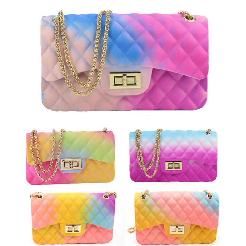 Fashion Women Jelly Shoulder Bag PVC Messenger Bag Chain Handbag Crossbody Bags