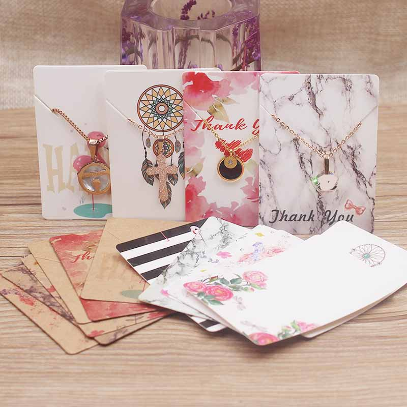 100Pc various design jewelry necklace paper package card DIY handmade flower marbling sweet love charms pendant dispaly tag card in Jewelry Packaging Display from Jewelry Accessories