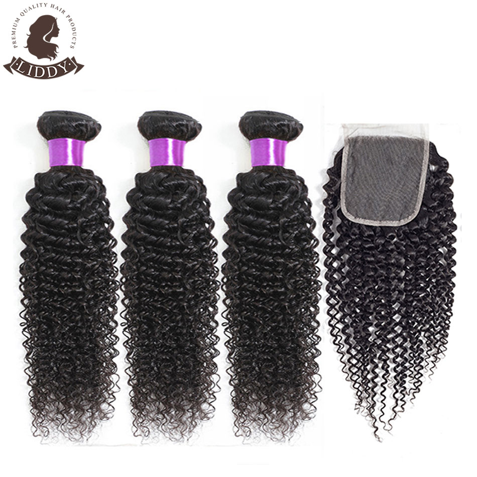 Liddy Curly Bundles With Closure Malaysian Hair 3 Bundles With Closure 100% Human Hair Natural Color Non-remy Hair Extensions