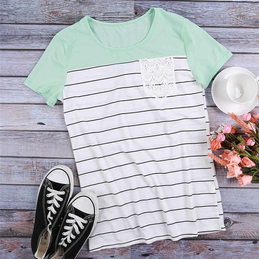 스트라이프 티셔츠 여성 여름 탑 2020 뉴 탑스 티 레이스 포켓 반소매 티셔츠 여성 티셔츠 여성 티셔츠