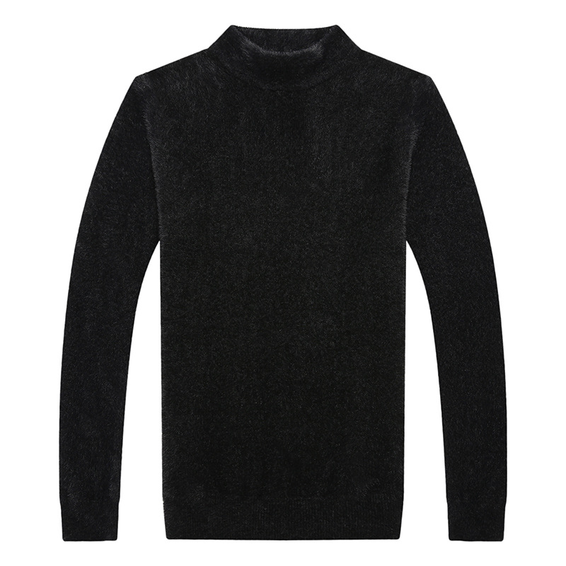 Mens Sweater Pullover Mink Cashmere Like Soft Smooth Fashion Fall Sweater Casual Flat Knitted Spandex Pullovers Homme