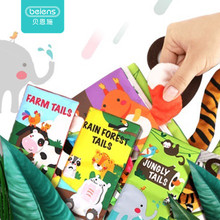 Beiens Infant 3 Style Baby Cloth Books Early Learning Educational Toys with Animals Tails Soft Cloth Development Books Rattles