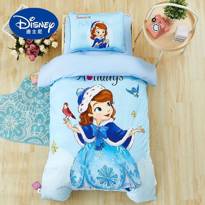 Disney Cartoon Mickey Sophia Bedding Set For Baby Crib Bed 3Pcs Duvet Cover Bedsheet Pillowcases For Baby Boys Girls 0.6m Bed