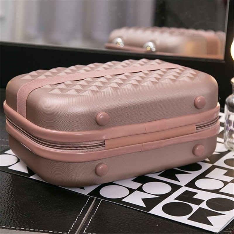 HOT 14 inch Zakelijke Cosmetische zak Hoogwaardige 3D ABS meisje studenten trolley reisbagage vrouw rollende koffer