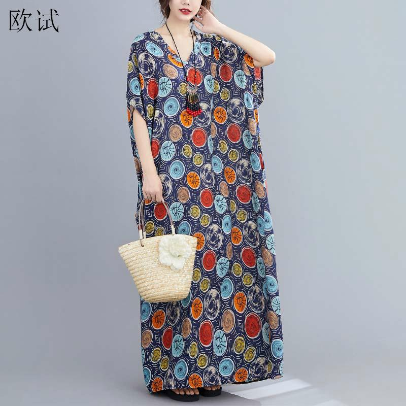 <font><b>Plus</b></font> <font><b>Size</b></font> Polka Dot Summer Dress Vintage Cotton Ladies Dresses for <font><b>Women</b></font> 4XL 5XL 6XL <font><b>7XL</b></font> Robe Femme Maxi Dress Vestidos 2020 image