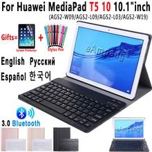لهواوي MediaPad T5 10 لوحة المفاتيح حالة 10.1 بوصة AGS2 W09 AGS2 L09 AGS2 L03 سليم بلوتوث لوحة المفاتيح حقيبة جلد غطاء فوندا
