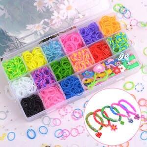 Toys Bracelet Loom-Band-Set Braided Elastic-Band Gift Rainbow Girls Rubber DIY Handmade