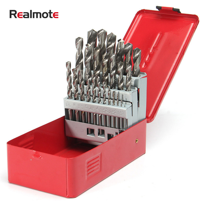 Realmote High Quality 25Pcs 1-13mm Twist Drill Bit Set HSS Wood Drilling Kit Metal Metric Power Tool