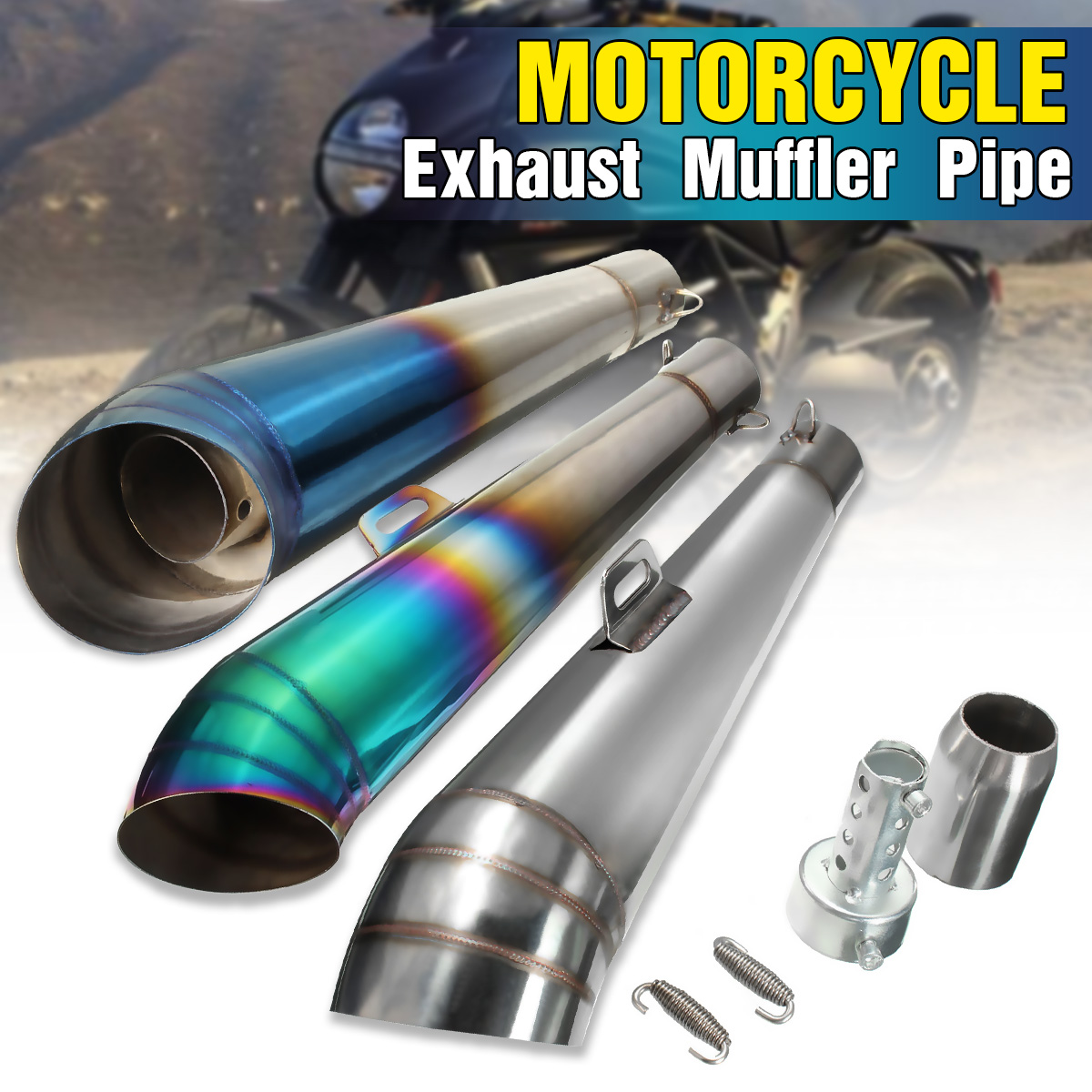 Black 51mm Universal Motorcycle Street Bike Stainless Steel Exhaust Muffler Pipe