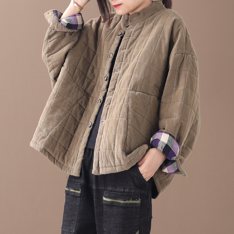 Autumn Winter   Parkas   Women Loose Padded Corduroy Coat 2019 New Tops Stand Button Casual Female Warm Jackets   Parkas