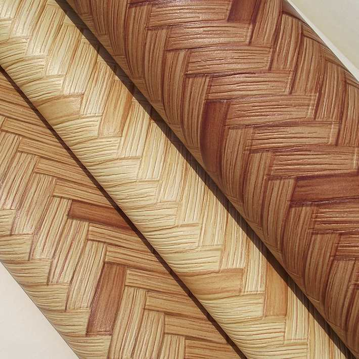 Characteristics Faux Bamboo Weaving Engineering Wallpaper Thick Waterproof PVC Wallpaper Hotel Engineering Background Wallpaper