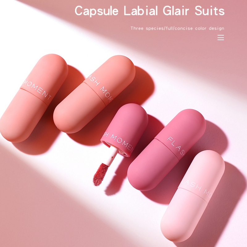 New Matte Velvet Capsule Lip Glaze Lip Tint Moisturizing Non-Stick Cup Mirror Three-Layer Lip Gloos Set