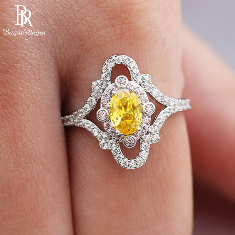 Bague Ringen 925 Sterling Rings Yellow Citrine Oval 5*7MM Shape Gemstone  Jewelry For Women Girls Party Wedding Engagement Gift