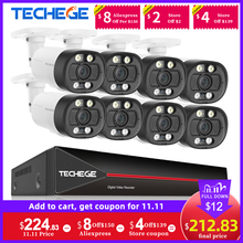 Techege 8CH 5MP AI Camera CCTV Security Camera System Face Detection Two way Audio Human Detection P2P Video Surveillance Set