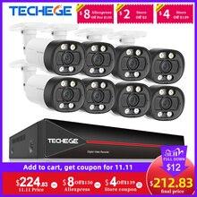 Techege 8ch 5mp ai câmera de segurança cctv sistema de câmera de detecção de rosto de duas vias de áudio humano p2p vídeo vigilância conjunto