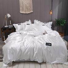 Bedding-Set Pillowcase Duvet-Covers Bed-Sheet Lace King White Double-Queen Pure-Satin