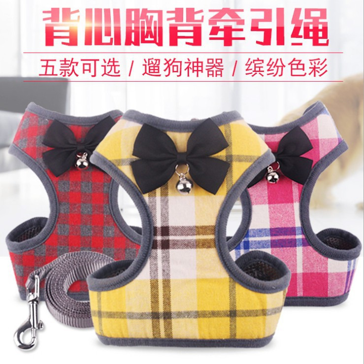 Pet Supplies Dog Chest And Back With Plaid Bow Dog Chain Vest Style Chest And Back Pet Traction Rope