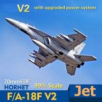 Радиоуправляемый самолет FMS F/A-18F F18 Super Hornet V2 70 мм воздуховод EDF Jet Масштаб Модель самолета PNP 6S 6CH с откатными щитками