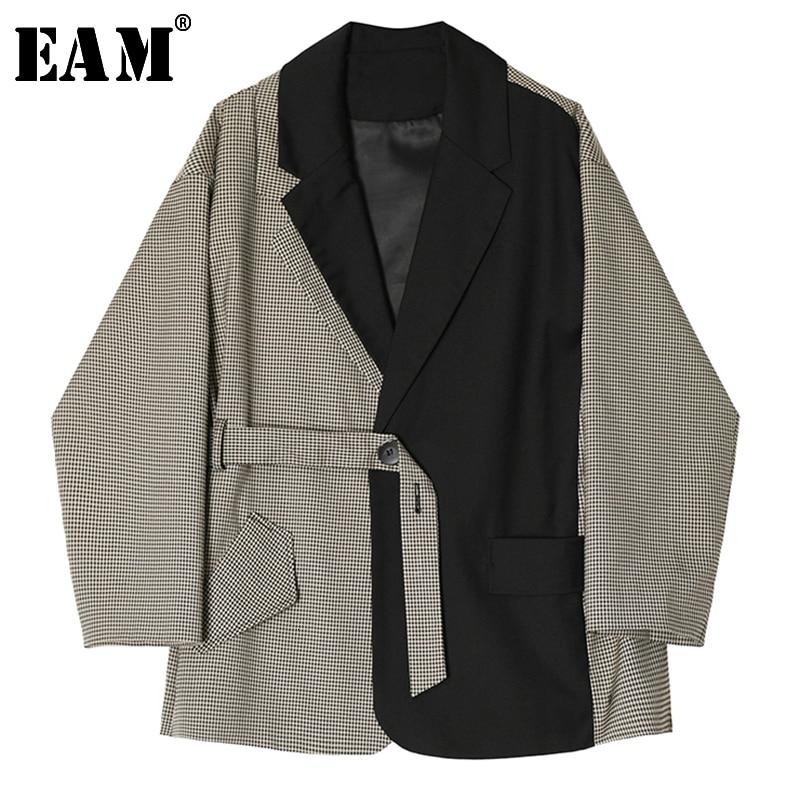 [EAM]  Women Black Split Plaid Bandage Blazer New Lapel Long Sleeve Loose Fit  Jacket Fashion Tide Spring Autumn 2019 1B552