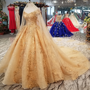 Image 4 - LS21447 golden sexy off shoulder wedding gown 2018 with long veil v neck lace up champagne bridal wedding dress free shipping