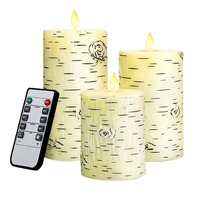 HOT Flameless Led Candles Flickering Birch Bark Unscented Pillar Moving Flame 4inch 5inch 6inch Set Of 3 Real Wax Battery Operat|  -