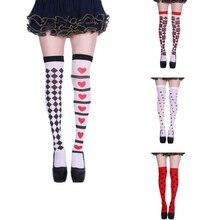 Calcetines largos hasta el muslo con estampado de cartas de póker en rojo y corazón, calcetines para Halloween hasta la rodilla, calcetines para fiesta, Cosplay, Joker y bruja