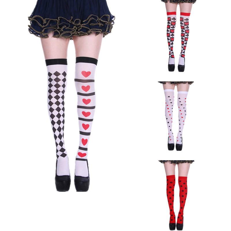 Print Poker Card Red Heart Long Socks Halloween Dress Up Knee High Socks Party Cosplay Joker Witch Sock Thigh High Stockings