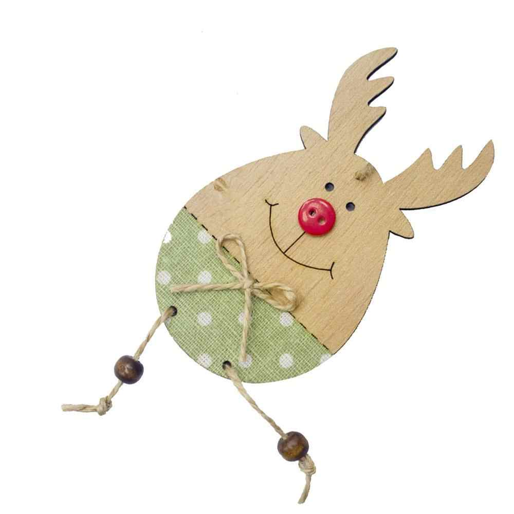 Christmas Decorations Pendant Wood Smiley Elk Hemp Rope Pendant Button Christmas Tree Decoration Pendant