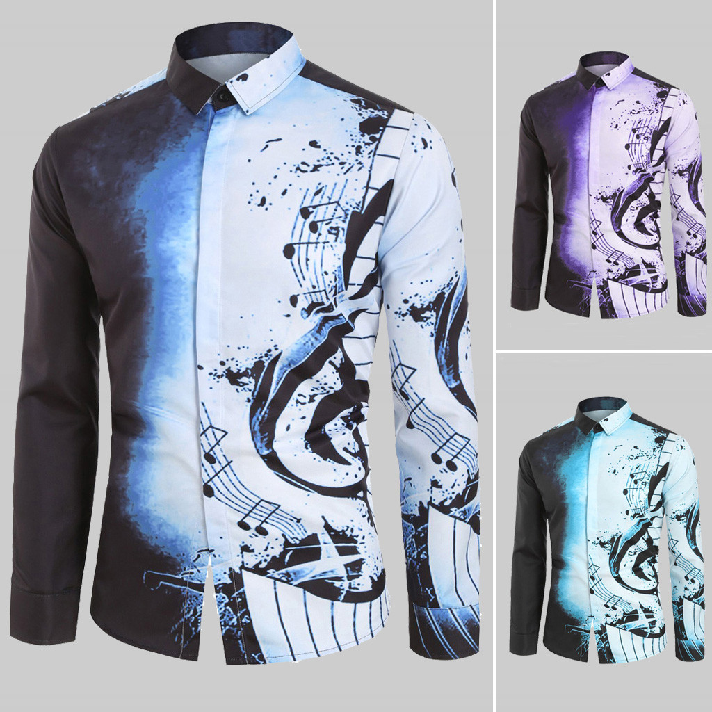 Men Casual Musical Note Pattern Casual Long Sleeves Shirt Top Blouse Blouses And Tops Daily Wearing High Quality Office Blouse