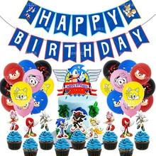 Fans Balloon Happy-Birthday-Banner-Decoration The-Hedgehog Superhero Sonic Game Topper