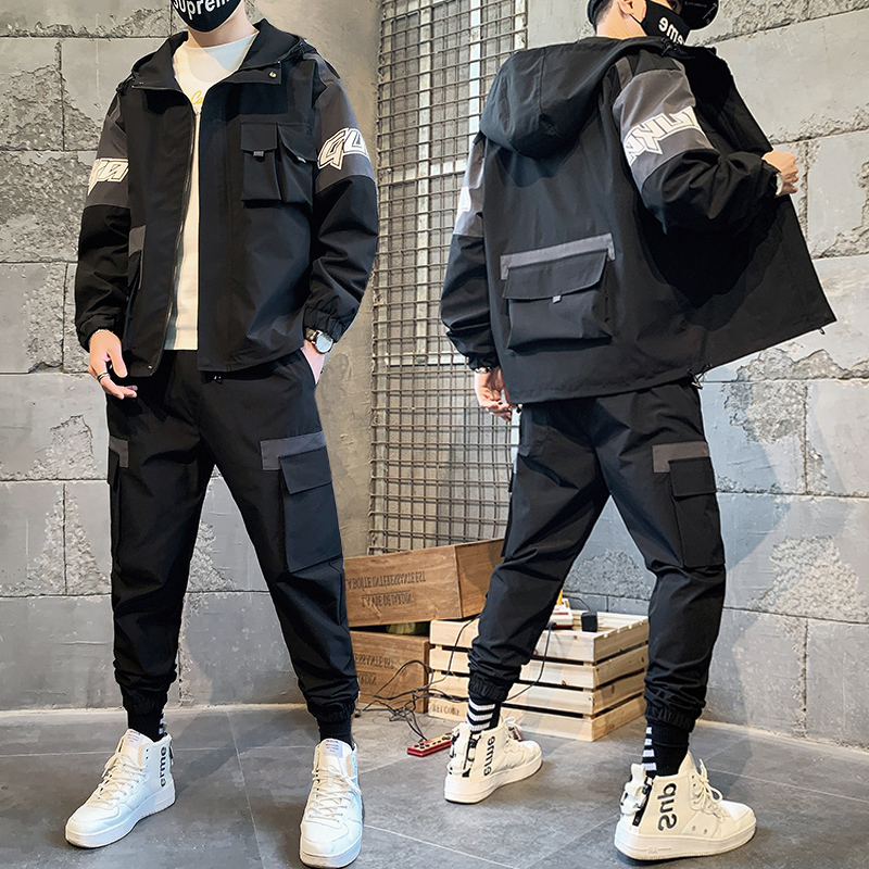 Fashion Cargo Pullover Tracksuit Fashion 2 Pieces Sets Mens Jackets Loose Fit Elastic Waist Pants Hip Ropa Deportiva Hombre