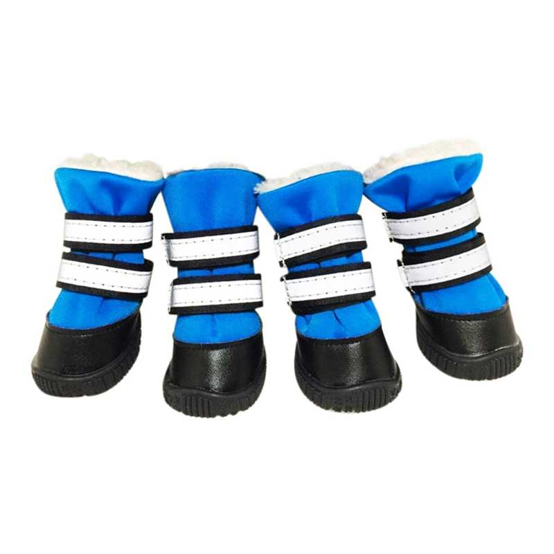 4 Pcs/Set Winter Thick Warm Dog shoes Dog socksPet Waterproof Rain Shoes For Dog Medium Large Anti-slip Rain Boot