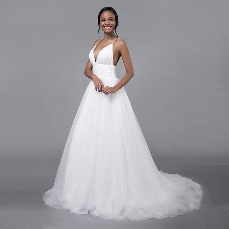 Simple Boho Wedding Dresses 2019 Soft Tulle Spaghetti Straps White Ivory Bride Dress South Africa Beach Wedding Gown Party