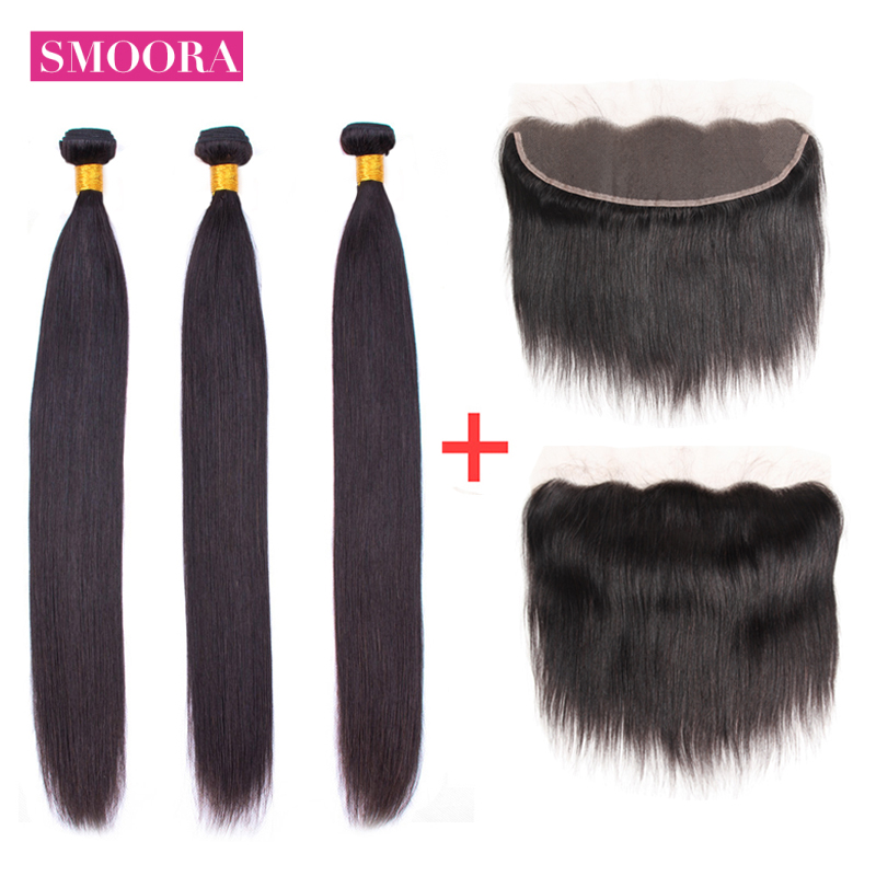 Brazilian Straight Human Hair Bundles With Lace Frontal 13x 4 Inch Ear To Ear Lace Frontal Closure With Bundles Non Remy Smoora