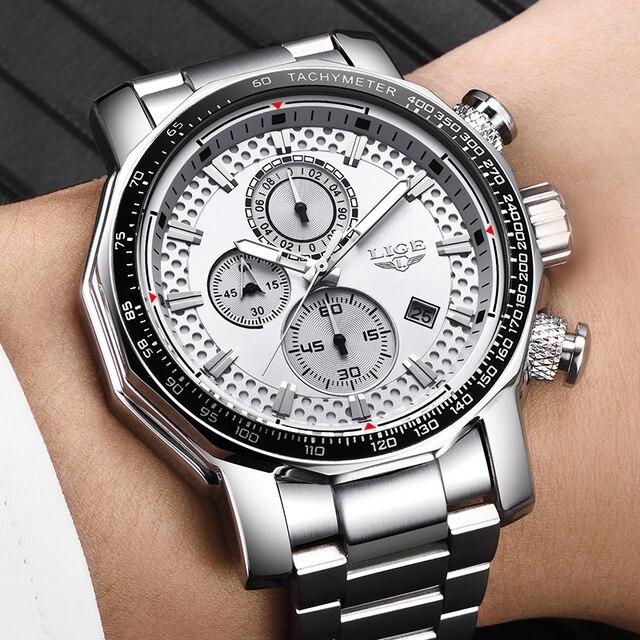 Купить lige серебряные часы с большим циферблатом мужские спортивные картинки цена