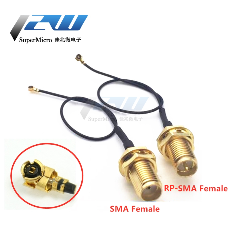 2-piece SMA / RP-SMA female to MHF4 IPEX IPX RF plug Pigtail cable for Mini 0.81mm PCI card intel WIFI Board 10cm 15cm 20cm 30cm