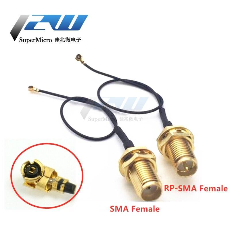 2-piece sma/RP-SMA fêmea para mhf4 ipex ipx rf plugue trança cabo para mini placa de cartão intel wifi pci 0.81mm 10cm 15cm 20cm 30cm