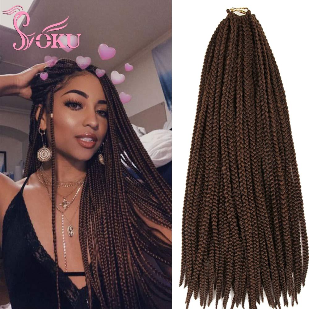 SOKU boîte moyenne tresses cheveux Ombre Crochet Extensions de cheveux 24 pouces tressage cheveux dreadlock 1 CM synthétique Jumbo boîte tresse