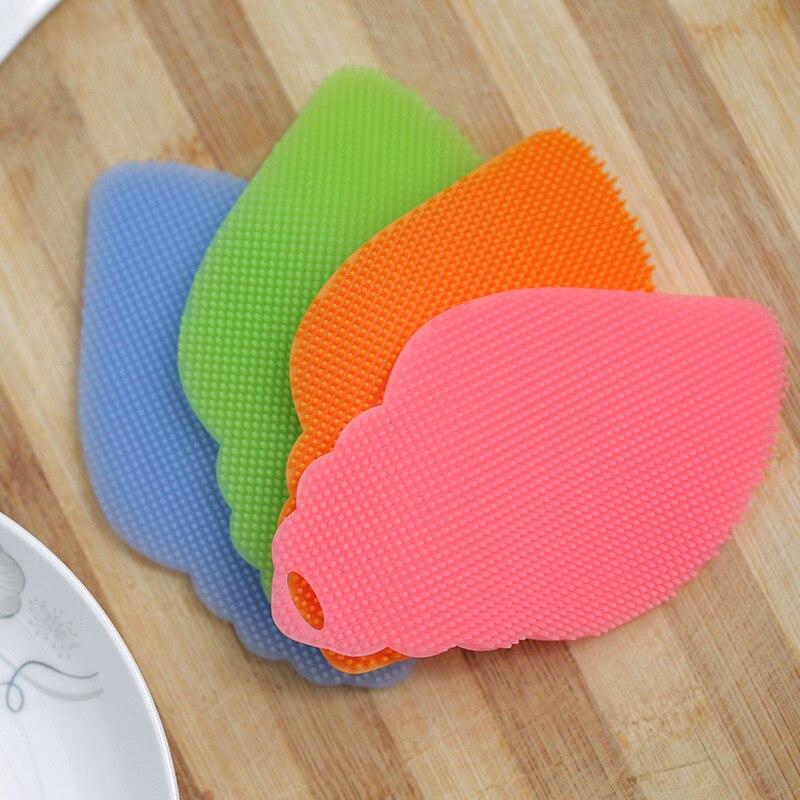 New Style Silicon Dishwashing Brush Direct Selling Wholesale Creative Leaf-Shaped Multi-functional Wash Useful Product Fruit And
