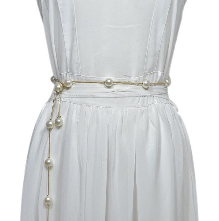 Women's Runway Fashion Pearl Metal Cummerbunds Female Dress Corsets Waistband Belts Decoration Belt R2016