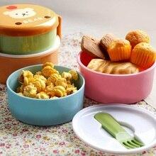 Детская Милая портативная мультяшная коробка для еды, контейнер для еды, контейнер для хранения, пластиковая двухслойная коробка для детского питания