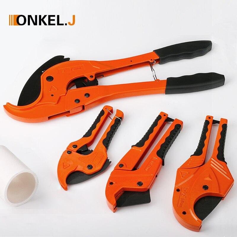 ONKEL.J PVC Pipe Cutter 42mm Aluminum Alloy Body Ratchet Scissors Tube Cutter PVC/PU/PP/PE Hose Cutting Hand Tools